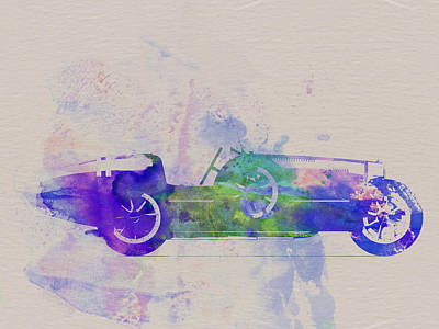 American Cars Drawing - Bugatti Type 35 R Watercolor 2 by Naxart Studio