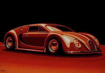 Vintage Auto Painting - Bugatti Veyron 'beetgatti' 1945 Painting by Paul Meijering