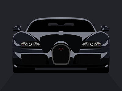 Vehicles Digital Art - Bugatti Veyron Dark by Michael Tompsett