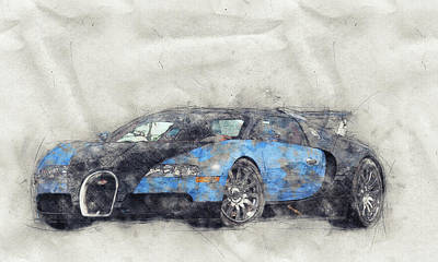 Mixed Media Royalty Free Images - Bugatti Veyron EB 16.4 - Sports Car 1 - Automotive Art - Car Posters Royalty-Free Image by Studio Grafiikka