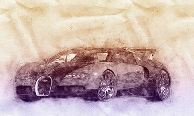 Mixed Media Royalty Free Images - Bugatti Veyron EB 16.4 - Sports Car 2 - Automotive Art - Car Posters Royalty-Free Image by Studio Grafiikka