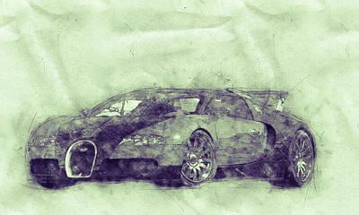 Mixed Media Royalty Free Images - Bugatti Veyron EB 16.4 - Sports Car 3 - Automotive Art - Car Posters Royalty-Free Image by Studio Grafiikka