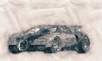 Mixed Media Royalty Free Images - Bugatti Veyron EB 16.4 - Sports Car - Automotive Art - Car Posters Royalty-Free Image by Studio Grafiikka