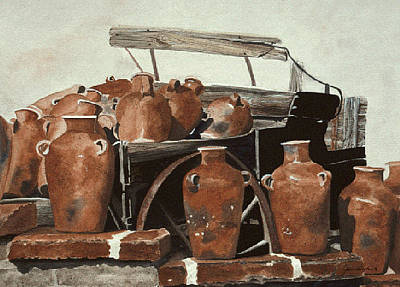 Painting - Buggy And Pots by Jean Sumption