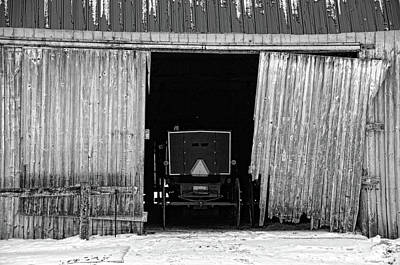 Amish Photograph - Buggy In The Barn by David Arment