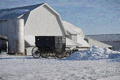 Amish Photograph - Buggy In The Snow by David Arment