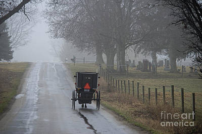 Amish Photograph - Buggy On Rainy Morning by David Arment