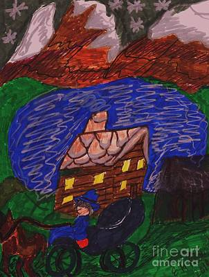 Horse And Buggy Mixed Media - Buggy Ride Under The Stars by Elinor Rakowski