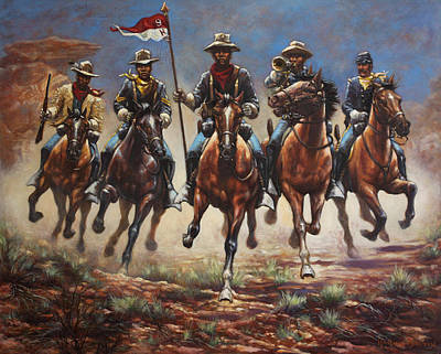 Black Horse Painting - Bugler And The Guidon by Harvie Brown
