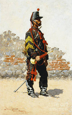 Bugler Of The Cavalry Art Print by Frederic Remington