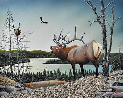 Painting - Bugling Elk by Don Engler