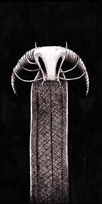 Minotaur Drawing - Bugnataur by Tom  Mead