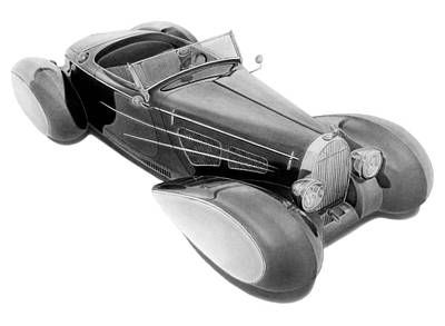 Delahaye Drawing - Bugnotti Delahaye Roadster by Lyle Brown