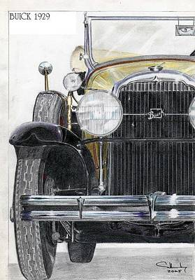Buick Drawing - Buick 1929 by Alberto Schlossberg