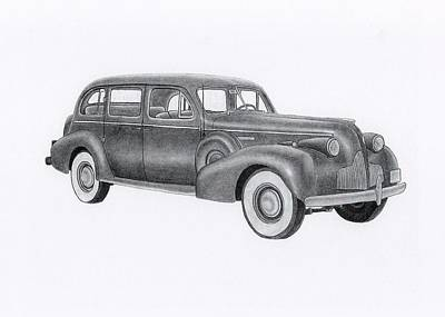 Buick Drawing - Buick 1939 by Claude Prud' homme