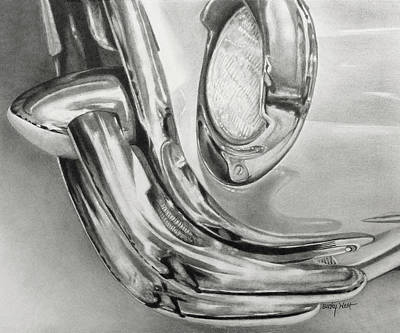 Buick Drawing - Antique Buick Reflections by Becky West