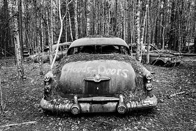 Photograph - Buick V8-abandoned Black And White by Betty Denise