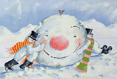 Snowball Painting - Building A Snowman by David Cooke