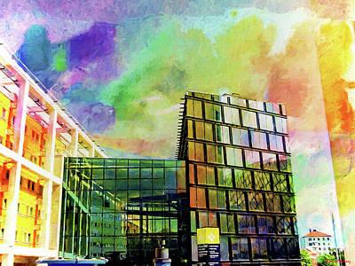 Stockholm Digital Art - Building At The Globen by Ramon Martinez