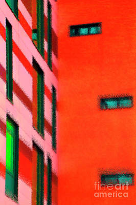 Art Print featuring the digital art Building Block - Red by Wendy Wilton