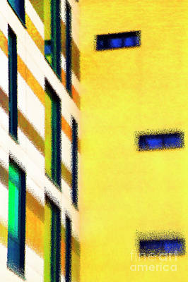 Art Print featuring the digital art Building Block - Yellow by Wendy Wilton