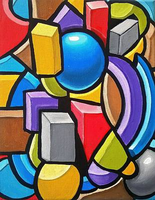 Painting - Building Blocks- Abstract 3dpainting by Ai P Nilson