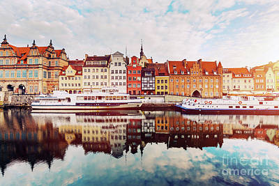 Photograph - Building Facades Of Old Town In Gdansk And Motlawa River. by Michal Bednarek
