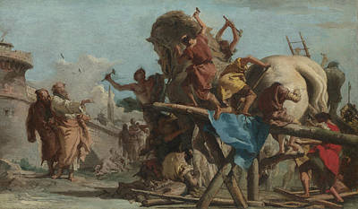 Painting - Building Of The Troyan Horse by Giovanni Domenico Tiepolo