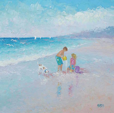 Children Playing On Beach Painting - Building Sandcastles by Jan Matson