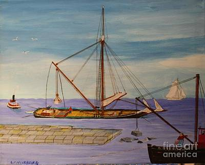 Painting - Building Sandy Bay Breakwater by Bill Hubbard
