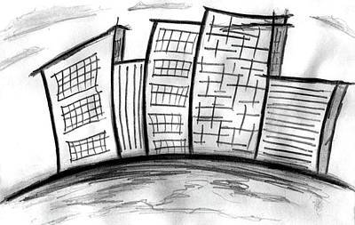 Drawing - Building Worlds by Matt Harang