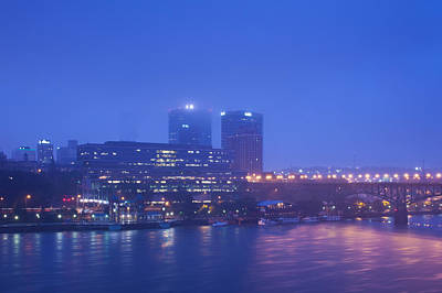 Tennessee River Photograph - Buildings At The Riverside Lit by Panoramic Images