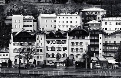 Photograph - Buildings In Salzburg Mono by John Rizzuto