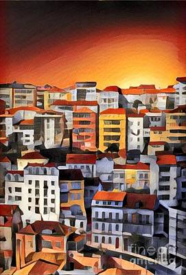 Buildings In The Sunset Print by Amy Cicconi