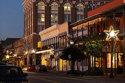 Buildings Lit Up At Dusk, Palafox Art Print by Panoramic Images