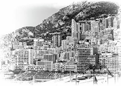 Photograph - Buildings Of Monte Carlo - Bw by Jenny Hudson