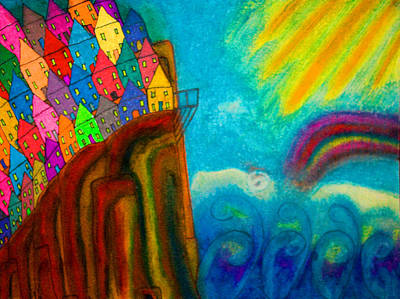 Painting - Buildings On A Cliff - Abstract - Crowded Edge by Marie Jamieson