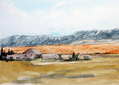 Buildings On A Colorado Ranch With Mountain Landscape Art Print