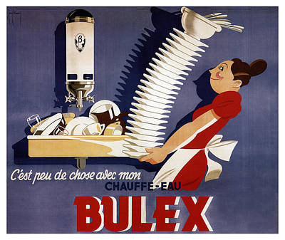 Royalty-Free and Rights-Managed Images - Bulex - Belgium - Vintage Water Heater Advertising Poster by Studio Grafiikka