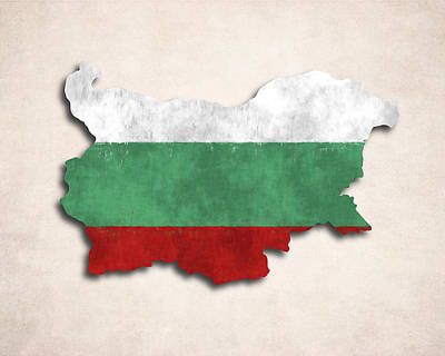 Bulgaria Map Art With Flag Design Art Print