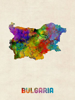 Sofia Digital Art - Bulgaria Watercolor Map by Michael Tompsett