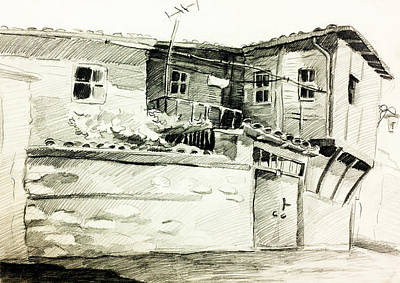 Sightseeing Drawing - Bulgarian Village House By Ivailo Nikolov by Boyan Dimitrov