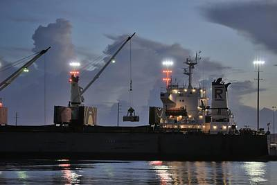 Photograph - Bulk Cargo Carrier Loading At Dusk by Bradford Martin