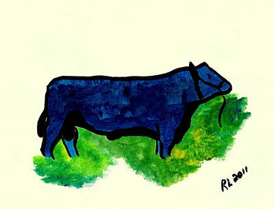 Painting - Bull 2 by Richard W Linford