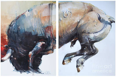 Wall Art - Painting - Bull 3 by Tony Belobrajdic