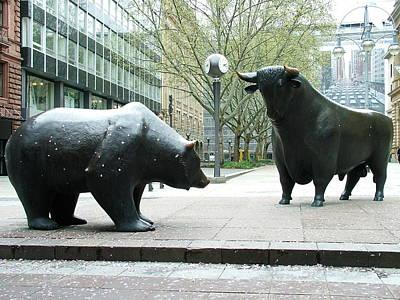 Bull And Bear Art Print by Martina Fagan