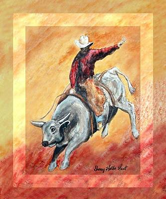 Cowboy Painting - Bull And Rider by Sherry Holder Hunt