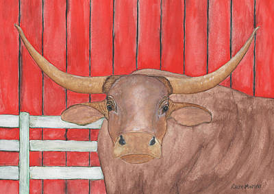 Bull By The Barn Original by Ralph Martens