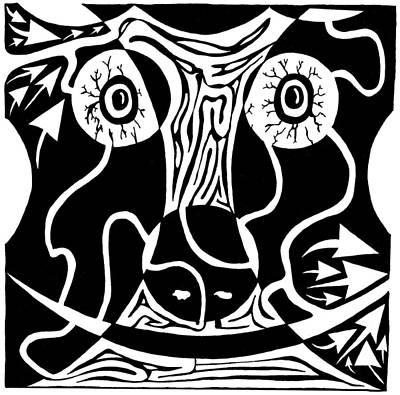 Frimer Drawing - Bull Charging Rorschach by Yonatan Frimer Maze Artist