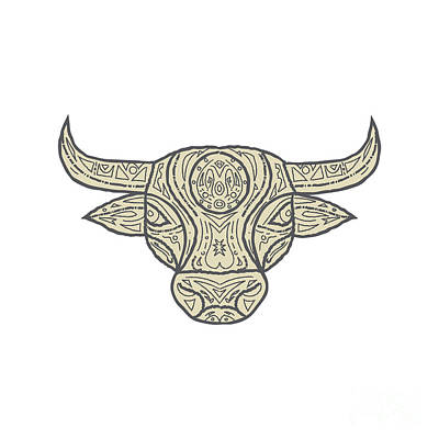 Bull Cow Head Front Mandala Art Print